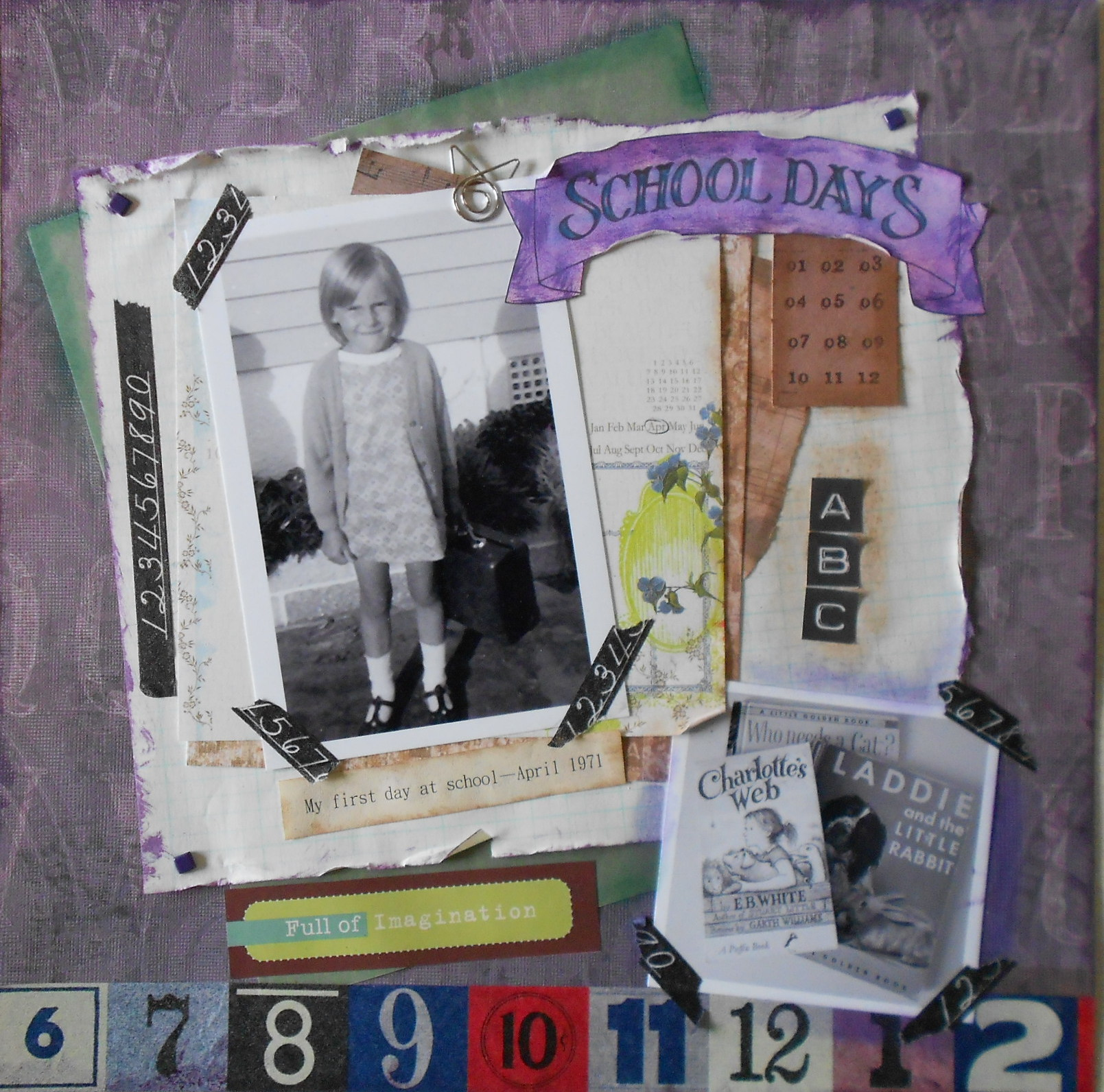 Scrapbook paper england theme -  Of My Favourite Early Childhood Books Keeping The Black And White Theme And Added A Few Embellishments Such As Purple Brads And A Fancy Paper Clip