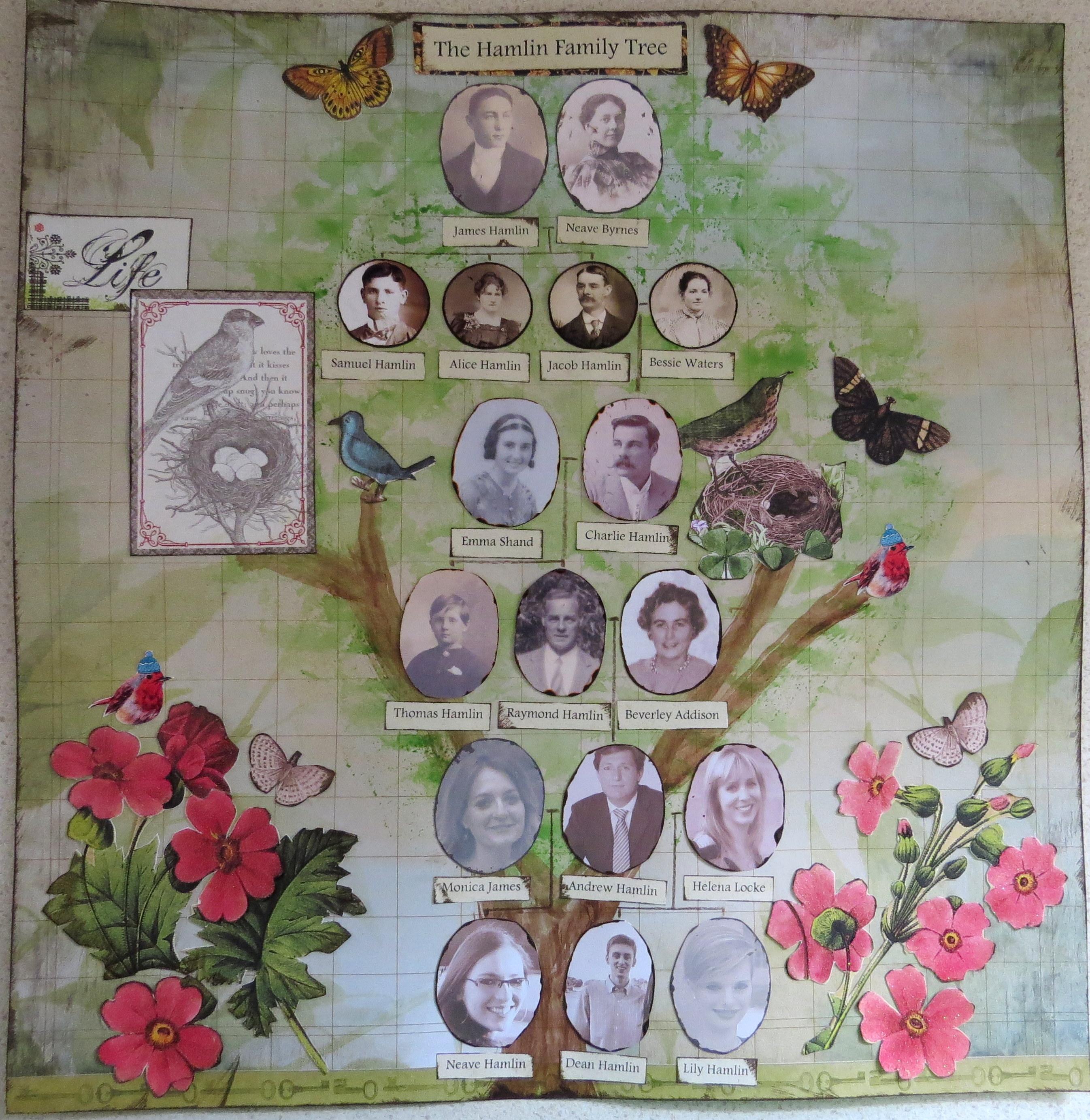 How to scrapbook family tree - Hamlin Family Tree